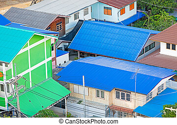 Roof colorful on bird eye view.