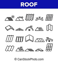 Roof Construction Collection Icons Set Vector