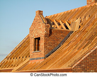 Roof construction showing wooden structure