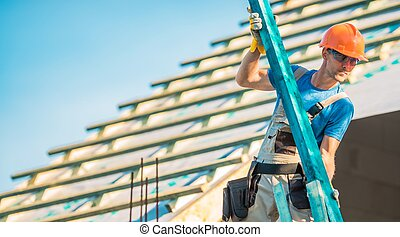 Roof Construction Wood. Caucasian Roofer with Wooden ...