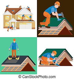 roof construction worker repair home, build structure fixing...