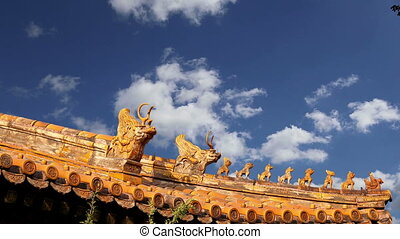 Roof decorations in Yonghe Temple (Lama Temple) in Beijing,...