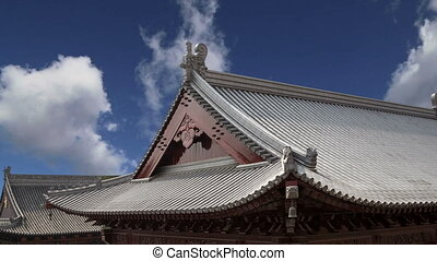 Roof decorations on the territory Giant Wild Goose Pagoda,...