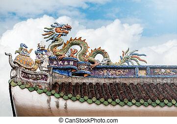 Roof decorative detail of Vietnamese temple.