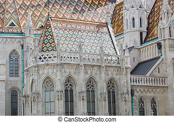 Roof detail of St Matthias catholic church in Budapest