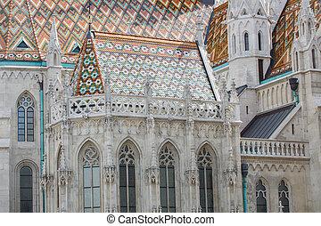 Roof detail of St Matthias catholic church in Budapest,...