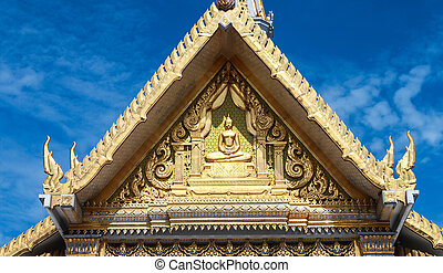 Roof detail of Wat Sothon in Chachoensao province in...