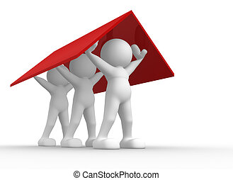 Roof - 3d people- humancharacter holding the roof - This is...