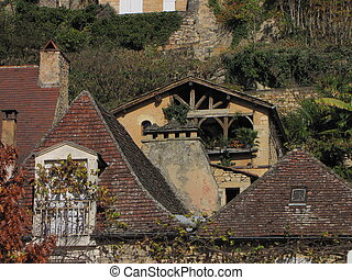 roof, house, village