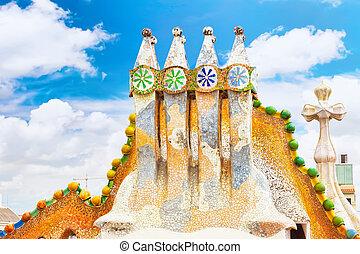 Roof, housetop Gaudi's creation-house Casa Batlo.Barcelona...