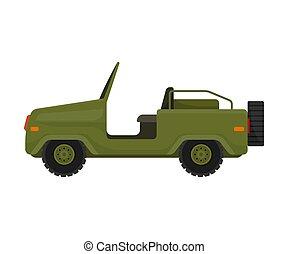 roof., ilustración, blanco, jeep, fondo., sin, vector