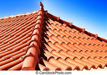 Roof in Azenhas do Mar house with ceramic pigeon on top