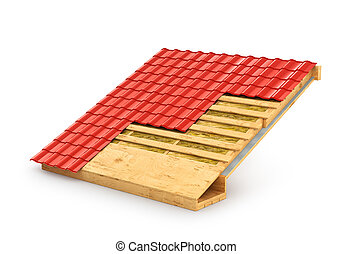 roof in terms. The demonstration roof insulation. 3D illustration