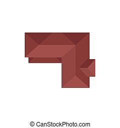 Roof in the form of a corner. View from above. Vector illustration.