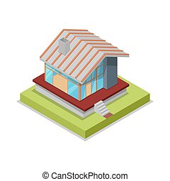 Roof installation isometric 3D icon