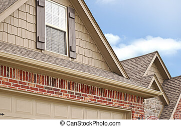 Roof Line Gables - Side Angle of Roof line of a house with...