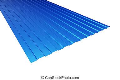 roof metal sheet blue on white background. 3d Illustrations