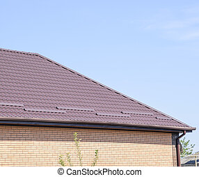Roof metal sheets. Modern types of roofing materials.
