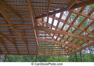 roof of a building during construction