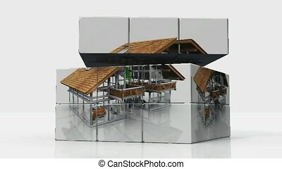 Roof of a house rotating
