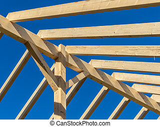 roof of a new roof - in a house with a new roof is built on...