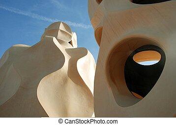 roof of Casa Mila - By Gaudi, Barcelona