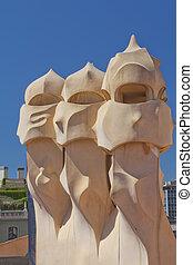 Roof of Casa Mila (Barcelona, Spain). Vertically.