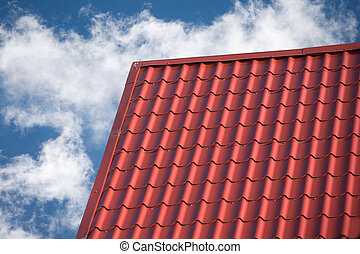 Roof of country house tile covered