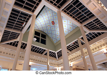 Tall roof of modern mall complex