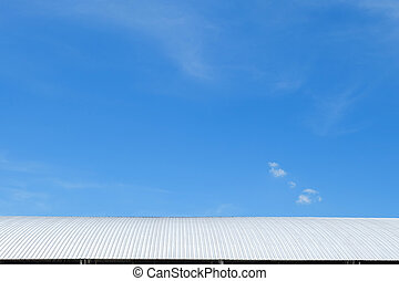 roof of metal sheet building with clear blue sky background