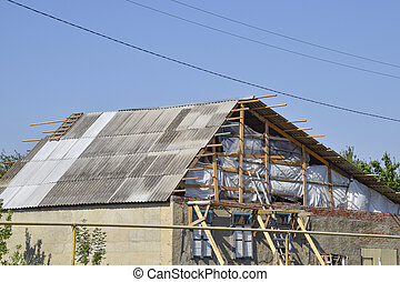 Roof of the house under construction