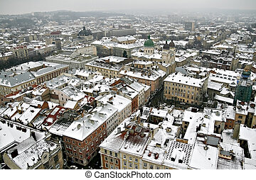 roof of the old city in the winter in Lviv top view