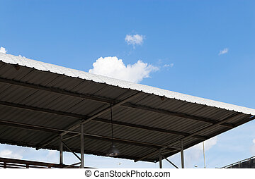 Roof of the stadium seat with blue sky