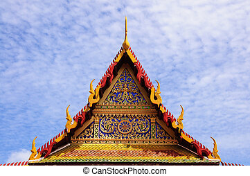 Roof of the Wat Temple, bangkok, thailand.