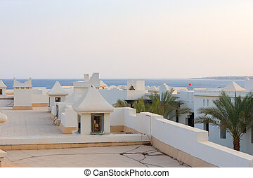 Roof of white houses in Arabic style