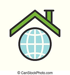 Roof on planet earth icon, filled outline flat design about global warming concept