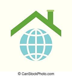 Roof on planet earth icon, flat design about global warming concept