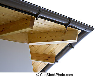 Roof Rafters - Home construction with wood framing and roof...