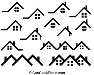 Roof set - House roof set illustrated on white