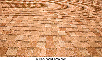 The pattern made by roof shingles on a house