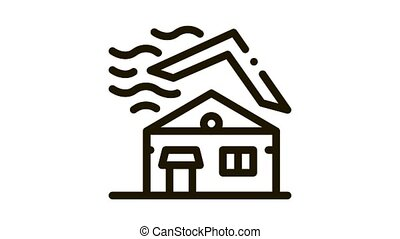 Roof Tear Down Icon Animation. black Roof Tear Down animated icon on white background