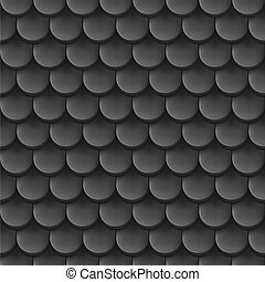 Abstract background with roof tile pattern in black color.