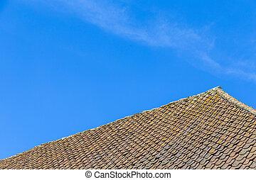 roof tile over blue sky