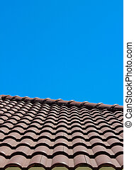 Roof tile with blue sky background