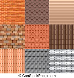 Roof tiles and roof texture vector set.