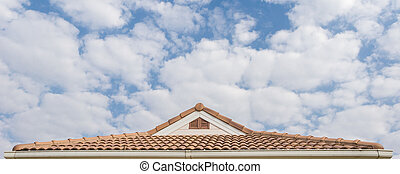 Roofing Contractors concept Installing House roof.