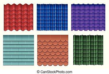 Roof tiles. Roofing materials vector set
