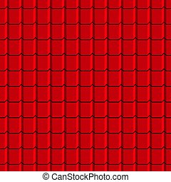 Roof tiles seamless pattern. Red shingles.