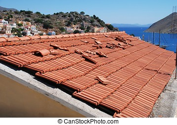 Roof tiles, Symi island