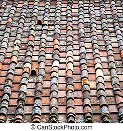 Roof tiles texture. Clay shingle roof.